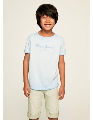 Camiseta efecto desgastado_Azul