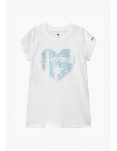 FAUX SEQUIN HEART TEE WHITE