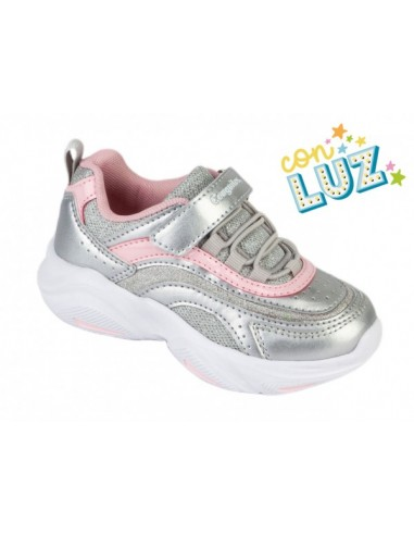 ZAPATILLAS CON LUCES NAPA PLATA