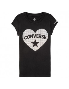 FAUX SEQUIN HEART TEE BLACK