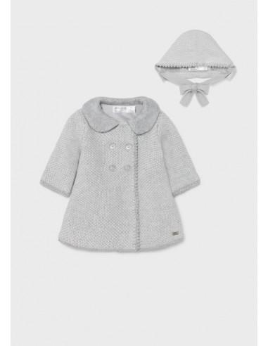 Abrigo tricot y capota - Gris vig