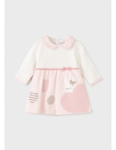 Vestido tricot combinado - Rosa baby