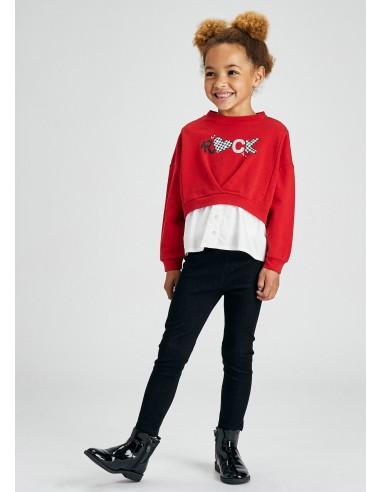 Conj. leggings knit denim - Rojo