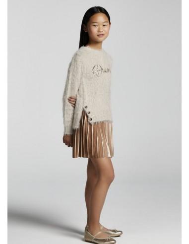 Vestido tricot combinado - Porcelana
