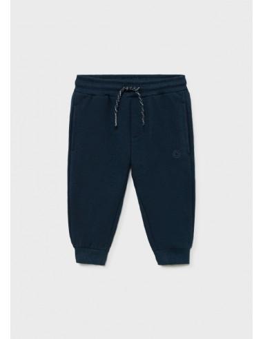 Pantalon felpa basico puños - Azul