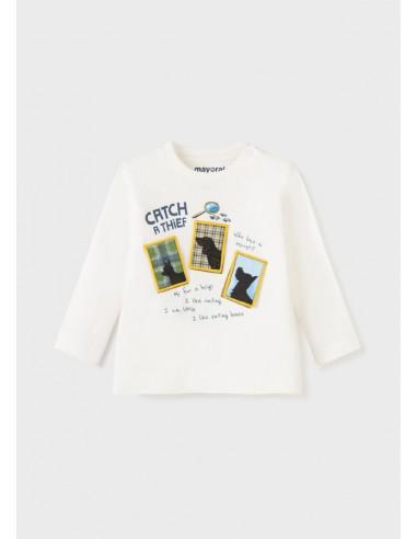 Camiseta m/l play secret - Nata