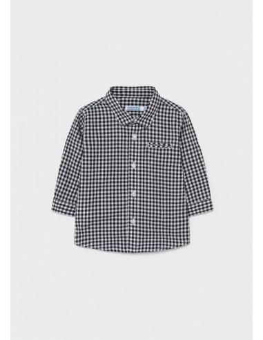 Camisa m/l cuadros popelin - Antracita