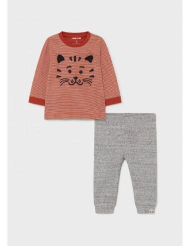 """Conj. punto homewear """"cat"""" - Naranja"""