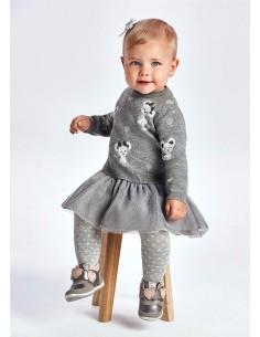 Vestido tricot tul - Acero...