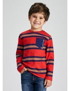 Camiseta m/l rayas - Rojo...