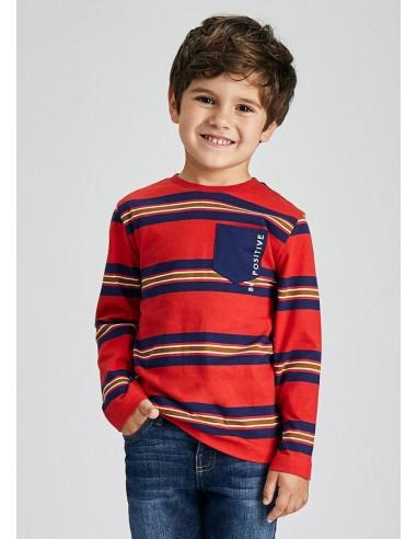 Camiseta m/l rayas - Rojo