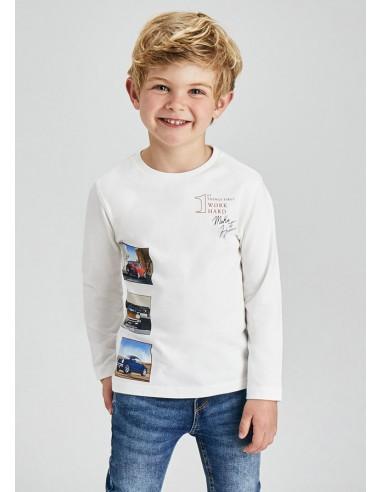 Camiseta m/l fotografias - Nata
