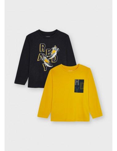 "Set 2 camisetas m/l ""ready"" - Grafito vi"