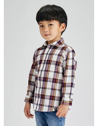 Camisa m/l cuadro grande - Nata