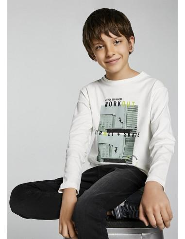 """Camiseta m/l """"workout"""" - Nata"""