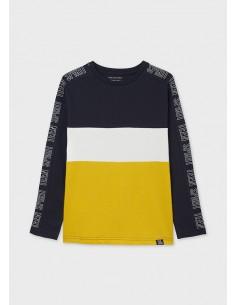 Camiseta m/l color block -...