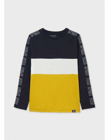 Camiseta m/l color block - Oro