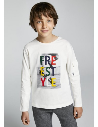 "Camiseta m/l ""freestyle"" - Nata"