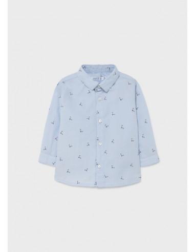 Camisa m/l estampada - Celeste