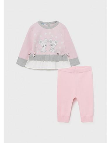 Conj. leggings tricotosa - Rosa