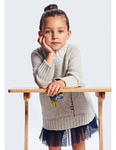 Vestido tricot bordado - Cemento vi