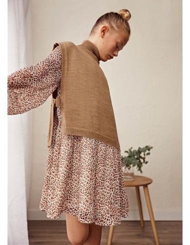 Vestido gasa leopardo - Teja