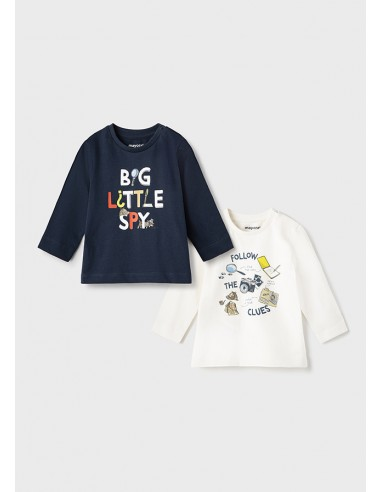 "Set 2 camisetas ""little spy"" - Azul..."