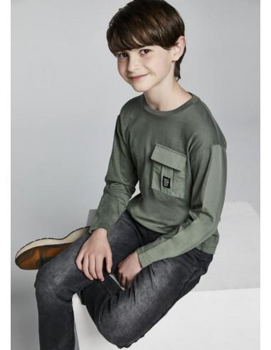 Camiseta m/l bolsillo plana - Salvia