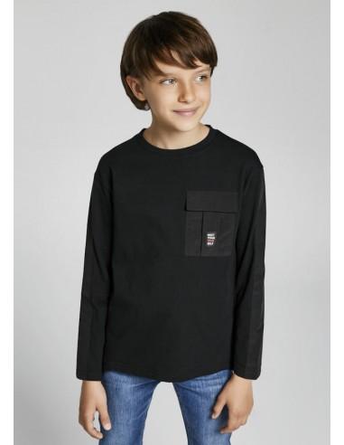 Camiseta m/l bolsillo plana - Negro
