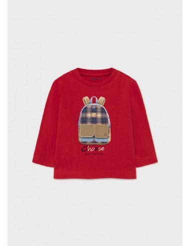 "Camiseta m/l ""play"" mochila - Rojo"