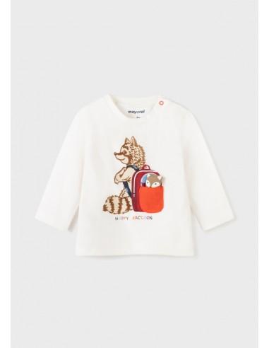 Camiseta m/l play mapache - Nata