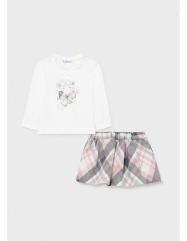 Conj. falda cuadros - Rosa