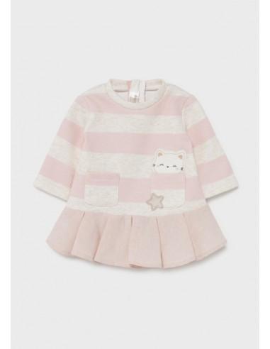 Vestido punto rayas - Dusty pink