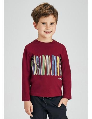 Camiseta m/l print banda - Granate