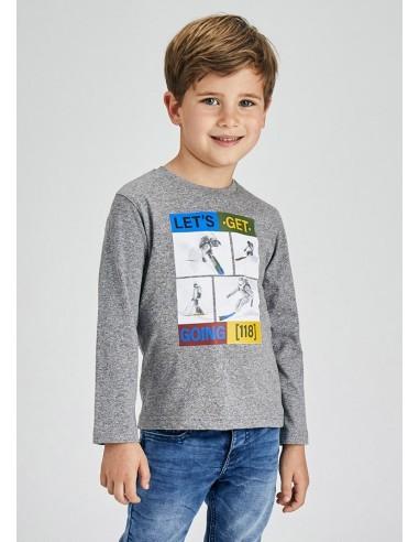Camiseta m/l esquiadores - Niquel gri