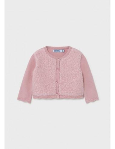 Rebeca tricot combinada - Rosa