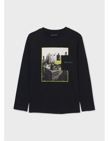 "Camiseta m/l ""enjoy the city"" - Negro..."