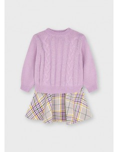Vestido combinado tricot -...
