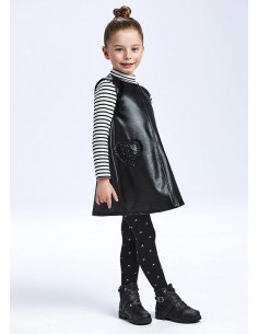 Vestido polipiel - Negro